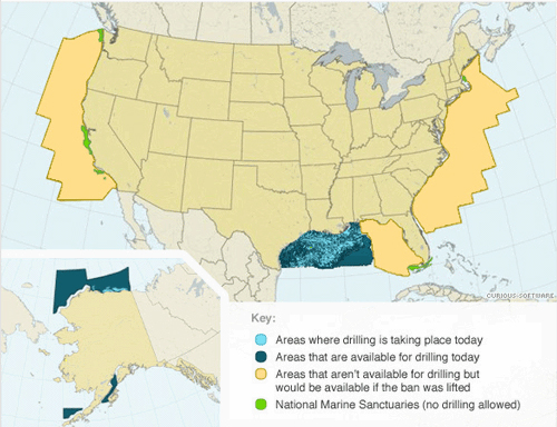 United States Map Showing Drilling Areas