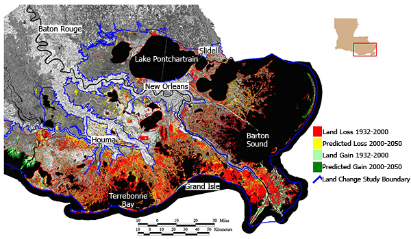 Map Showing Wetland Loss In Louisiana Modified From Lacoast U S Geologic Society